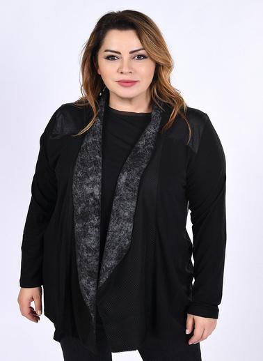 WHIP Design Baskılı Şal Yaka Yarasa Uzun Kol Viskon Hırka Siyah